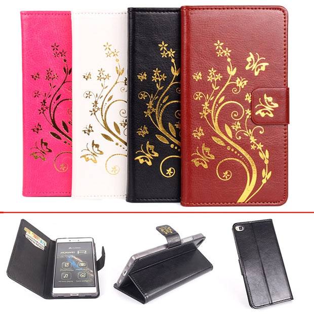 Gold Paillette Sequin Silicone Leather Case For Huawei P8 Flip Cover Case For Huawei P8 Lite Wallet Covers Phone Cellphone Cases