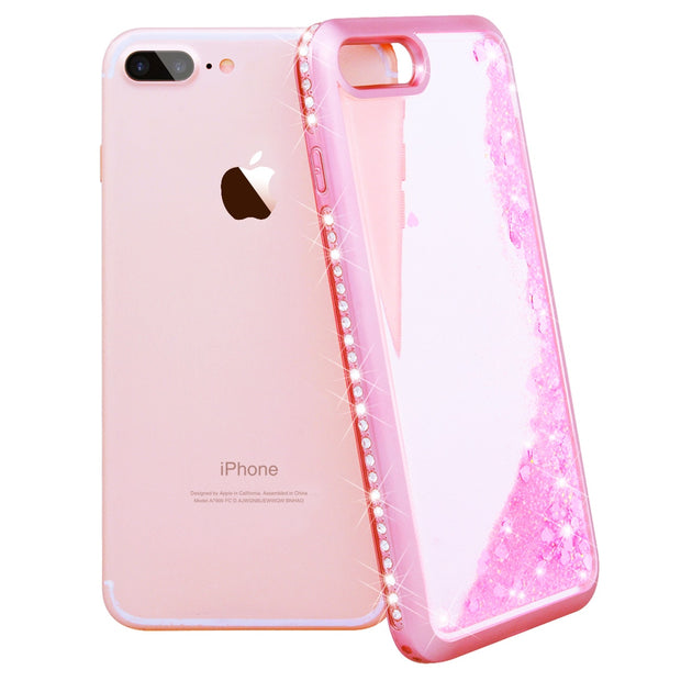 GrandEver Luxury Case For Iphone 7 7 Plus Soft Case For Quicksand Plating Diamond Borders Back Cover For Iphone 7 Plus For Girl