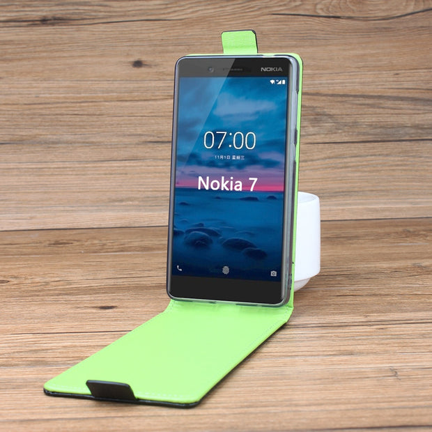 Green Bottom For Nokia 7 Case Phone Cover Brand Excellent Leather Flip Cover Case For Nokia 7 Cases Wallet Slot