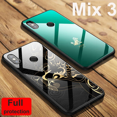 Green For Xiaomi Mi Mix 3 Case Mix3 Beast Forbidden City Edition Tempered Glass Cover For Xiaomi Mi Mix3 Full Protective Case