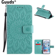 Guuds For IPhone 6s 6 Plus Leather Case Embossing Sunflower Leather Wallet Case For IPhone 6sPlus 6Plus 6P 4.7 And 5.5 Inch