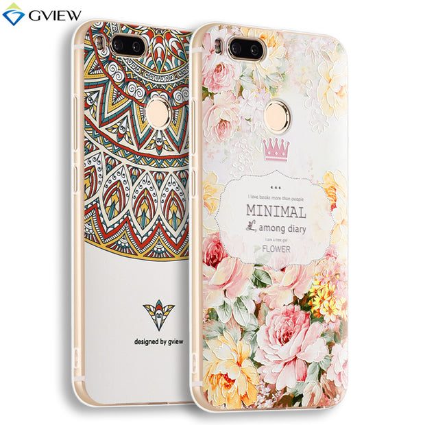 Gview 3D Relief Printing Clear Soft TPU Case For Xiaomi Mi 5X M5X Phone Back Cover Ultra-thin Shell Film For Xiaomi Mi A1