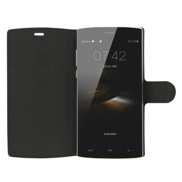 HOMTOM HT7 / HT7 Pro 2 In 1 Cloth Texture Leather Case With Holder + Screen Film For DOOGEE HOMTOM HT7