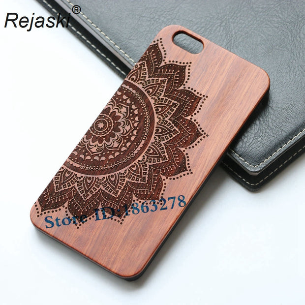 HOT Retro Wood Phone Cover For Samsung Galaxy S7 Edge Case Bamboo Wooden Case Wolf Anchor Skull Design Mobile Cover For S7Edge