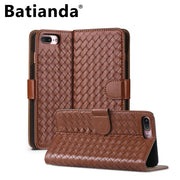 Hand Knitted Case For IPhone7 & IPhone 8 Wallet Flip Style Luxurry PU Leather Card Slots Cover For IPhone 7/8 4.7 Inch