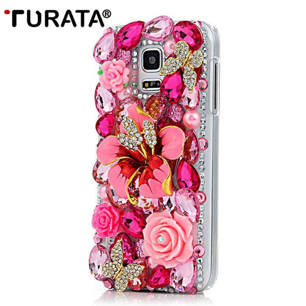 Handmade Bling Crystal Luxury 3D Diamond Back Cover Glitter Rhinestone Hard PC Phone Case For Samsung Galaxy S5 Mini S5Mini 4.5""