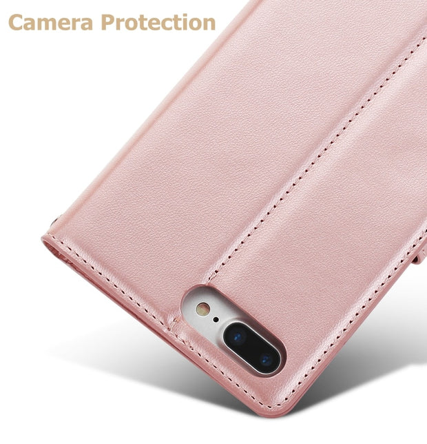 Hanman Sheepskin Leather Case For IPhone 5 5s SE 6 6s 7 8 Plus X Cover Flip Book Card Holder Stand Wallet Cases With Card Slot