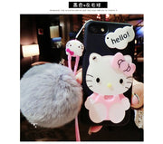 Hello Kitty Cosmetic Mirror TPU Cases For Iphone 7 7plus 6 6s Plus Back Cover Fluffy Rex Rabbit Wool Ball Girl Tpu Pink Cases