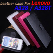 High Quality Leather Case For Lenovo A328 / A328T Flip Cover Case With Card Slot Housing A 328 A 328T Leather Cover Phone Cases