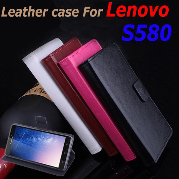 High Quality Leather Case For Lenovo S580 S 580 Flip Cover Case With Card Slot Housing LenovoS580 Leather Cover Phone Cases