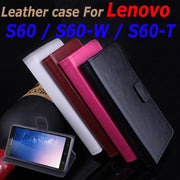 High Quality Leather Case For Lenovo S60 S 60 Flip Cover Case With Card Slot Housing S60W / S60T Leather Cover Phone Cases