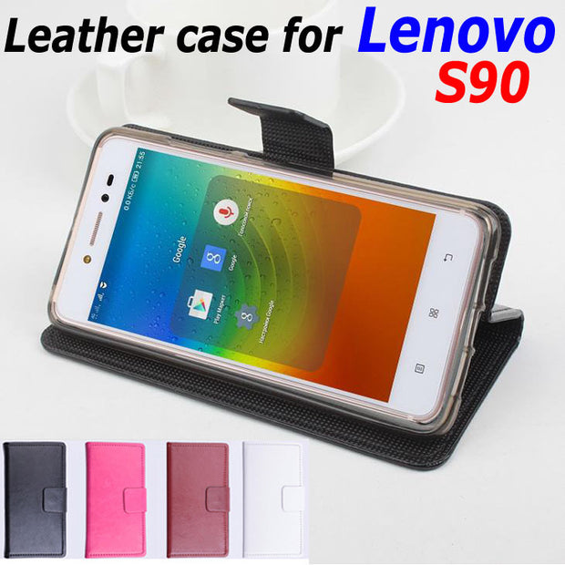 High Quality Leather Case For Lenovo S90 Flip Cover Case With Card Slot Lenovo S 90 Leather Cover Case Phone Cases