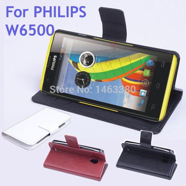 High Quality Leather Case For PHILIPS W6500 Flip Cover Case With Card Slot For PHILIPS W 6500 Leather Cover Case Phone Cases