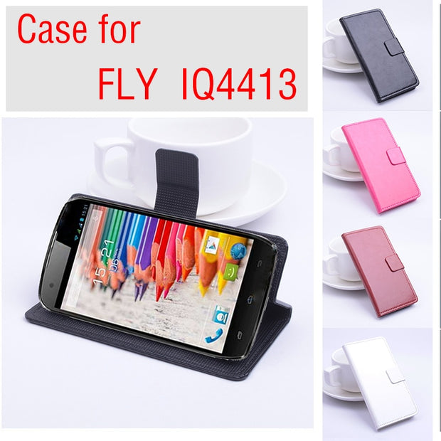 High Quality Luxury Leather Case For FLY IQ4413 Flip Cover Case With Card Slot For FLY IQ 4413 Leather Cover Case Phone Cases