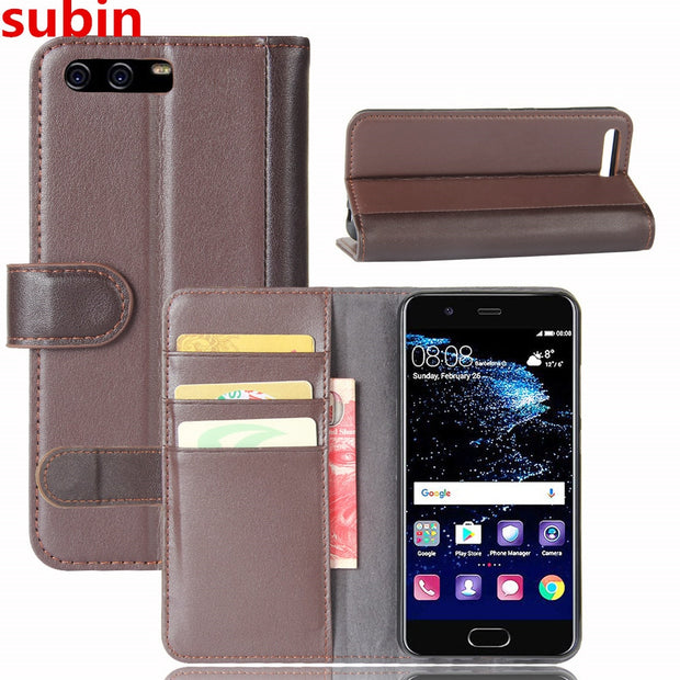 Hot Selling Huawei P10 Case Luxury Flip Genuine Leather Phone Back Cover For Huawei P10 Plus With Card Slots