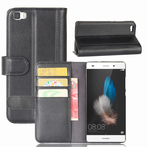 Hot Selling Huawei P8 Lite 5.0inch Case Luxury Flip Genuine Leather Phone Back Cover For Huawei P8lite ALE-L21 With Card Slots