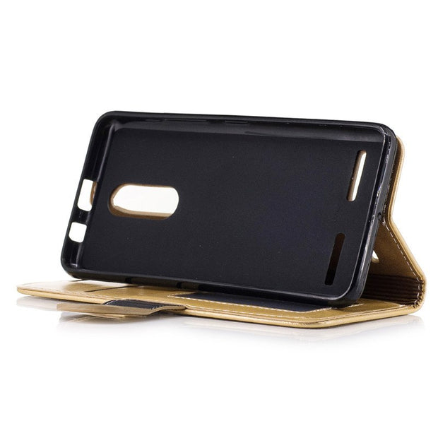 "Hotsale Coque For Lenovo K6 5.0"" Case Pu Leather With Card Holder Cover For Lenovo K6 5.0"" Shock-Absorption Protect Phone Gold"