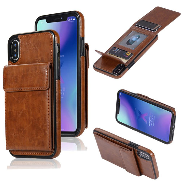 Hxairt New Wallet Luxury Upwards Flip PU Leather Phone Case For IPhone X 10 8 6 6S 7 Plus Card Pocket Stand Cover