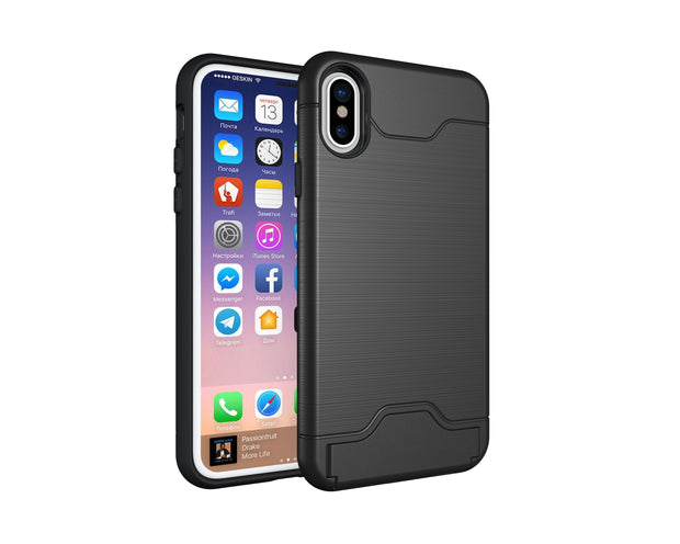 Hybrid Case Card Storage Stand Dual-use Mobile Shell For Iphone X 8 7 6S 6 Plus TPU+PC Protective Back Cover Fashion Business