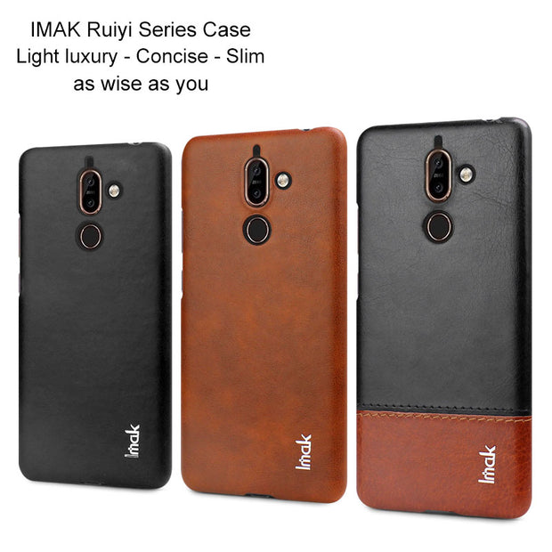 on sale 0e710 38279 IMAK Concise Business Etui For Coque Nokia 7 Plus Case Nokia 7Plus Cover  Leather Back Case For Funda Nokia7 Plus Back Cover 7+