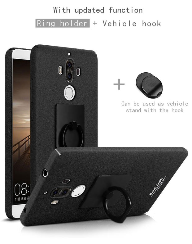 IMAK Frosted Cowboy Quicksand Hard Back Cover Case For Huawei Mate 9 5.9 Inch Mobile Phone Shell With Finger Ring Holder IN01