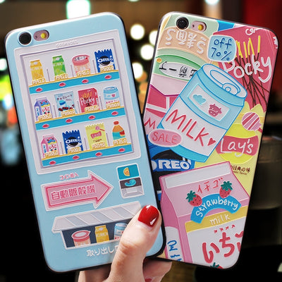 Japanese Cartoon Vending Machine Delicious Snack Emboss Case For Iphone XS MAX For XR XS X Cover For Iphone 6 6S 7 8 Plus Case
