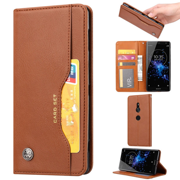 KDTONG Case SFor Sony Xperia XZ2 XZ2 Compact Case Luxury Flip Leather Wallet Card Slot Cover For Sony Xperia XZ2 Premium Case