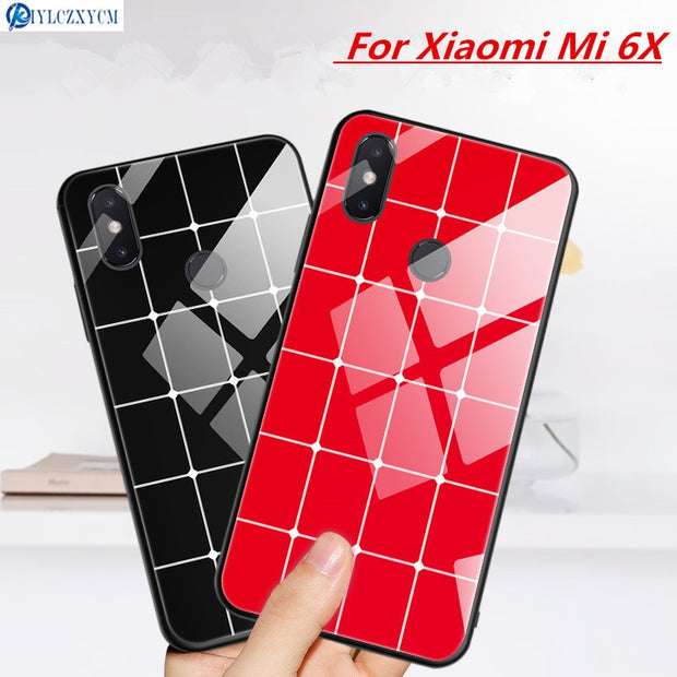 KIYLCZXYCM Tempered Glass Case For Xiaomi Mi 6X Case Hard Back Cover Soft TPU Silicone Bumper On For Xiaomi Mi 6X Mi6X Cover