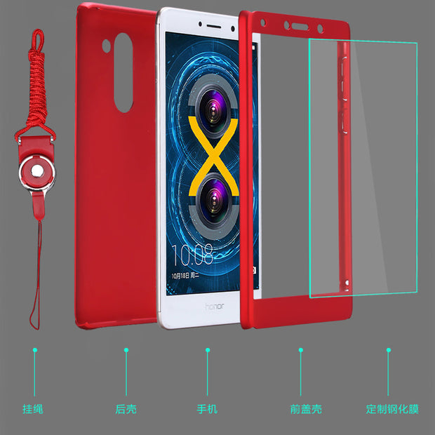 "KIYLCZXYCM Tempered Glass+PC Hard Matte Case For Huawei Honor 6X Case 5.5""360 Degree Full Cover Plastic Phone Case For Honor 6X"
