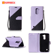 Karribeca Flip PU Leather Cases For LG K10 Case Combo Dual Color Money Wallet Cover Bag For LG K7 Case Coque Etui Kryty Husa Tok