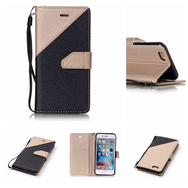Karribeca Flip PU Leather Case For Iphone 7 Plus Dual Color Wallet Cover Iphone 7 Plus Case Coque Etui Kryty Fodral Tok Husa