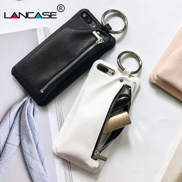 LANCASE For IPhone 6s Case Leather Wallet Luxury Zipper Handbag Ring Hard Back Cover Funda Case For IPhone 6s 6 Plus Phone Bags