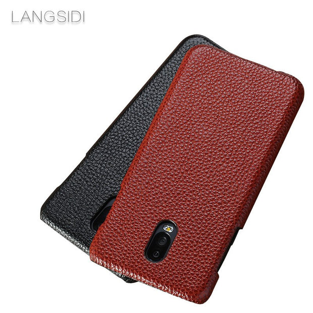 LANGSIDI For Samsung Galaxy J5 Phone Case Real Calf Leather Back Cover / Litchi Texture Case Genuine Leather Phone Shell