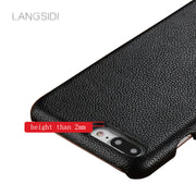 LANGSIDI For IPhone 6s Plus Case Handmade Luxury Genuine Leather Small Litchi Texture Back Cover For Other Case