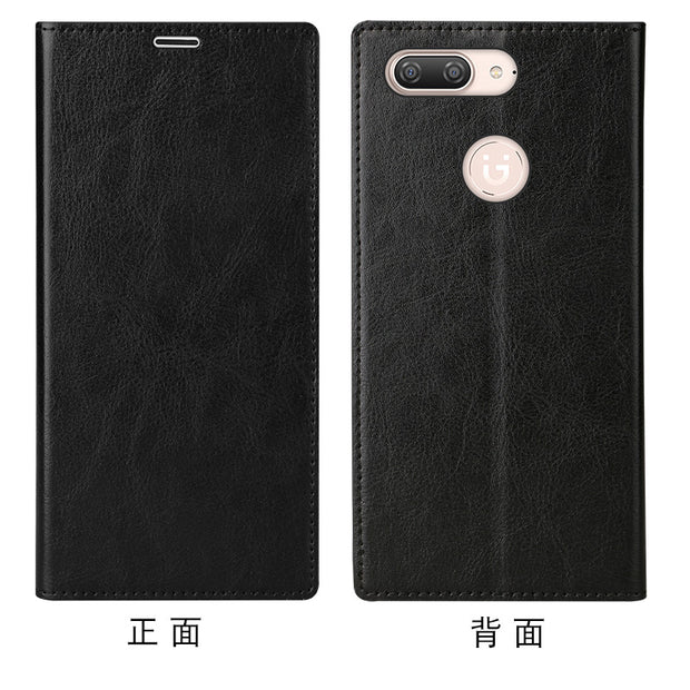 LANGSIDI Brand Mobile Phone Shell Square Wax Leather Flip Phone Holster For Gionee S10 Phone Case Handmade Custom Processing