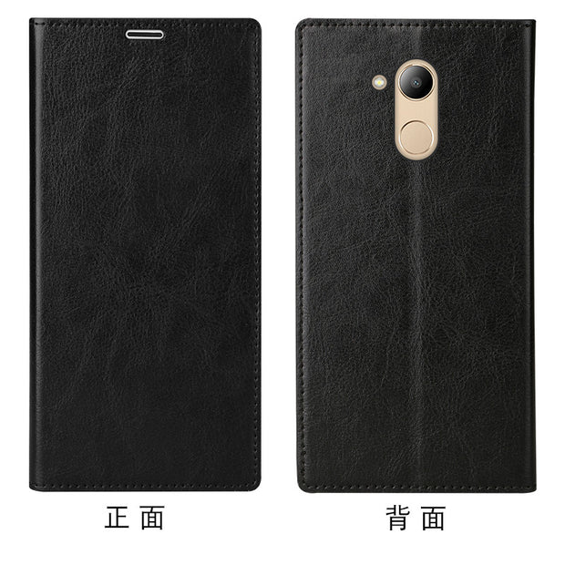 LANGSIDI Brand Mobile Phone Shell Square Wax Leather Flip Phone Holster For Huawei V9 Phone Case Handmade Custom Processing