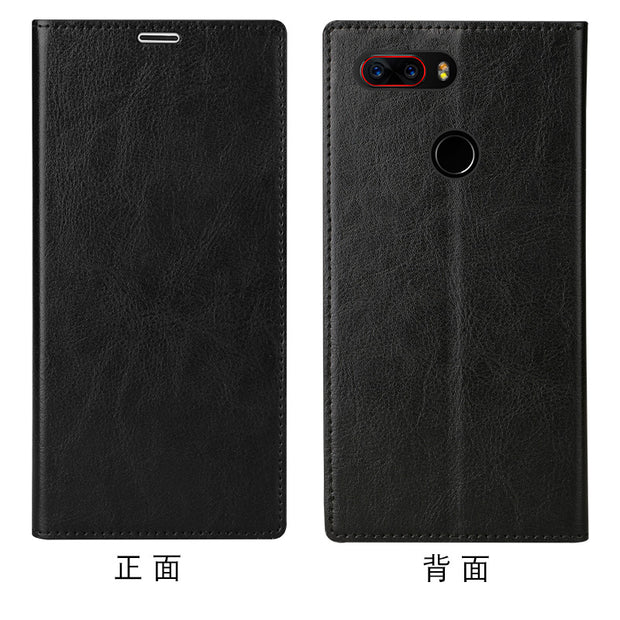 LANGSIDI Brand Mobile Phone Shell Square Wax Leather Flip Phone Holster For Nubia Z17 S Phone Case Handmade Custom Processing