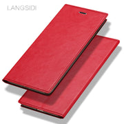 LANGSIDI Brand Mobile Phone Shell Square Wax Leather Flip Phone Holster For Samsung C8 Phone Case Handmade Custom Processing