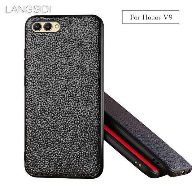 LANGSIDI Brand Phone Case Litchi Grain For Huawei Honor 9 V9 Case Or Mate 9 Pro 10 P10 Plus V10 Genuine Leather Phone Rear Cover