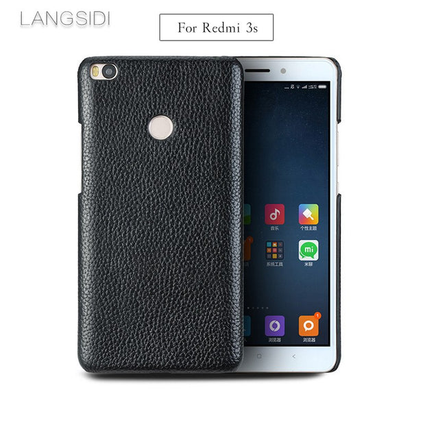 LANGSIDI Mobile Phone Shell For Redmi 3s Mobile Phone Shell Advanced Custom In Litchi Pattern Half Pack Leather Case