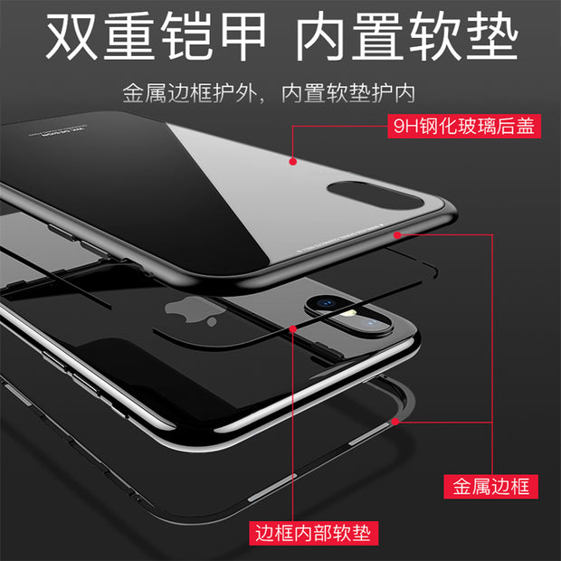 LIHNEL Magnetic Case For IPhone X 10 Metal Edge Tempered Glass Transparent Glass Back Cover For Iphone6 6s 6p 6sp 77p 8 8plus