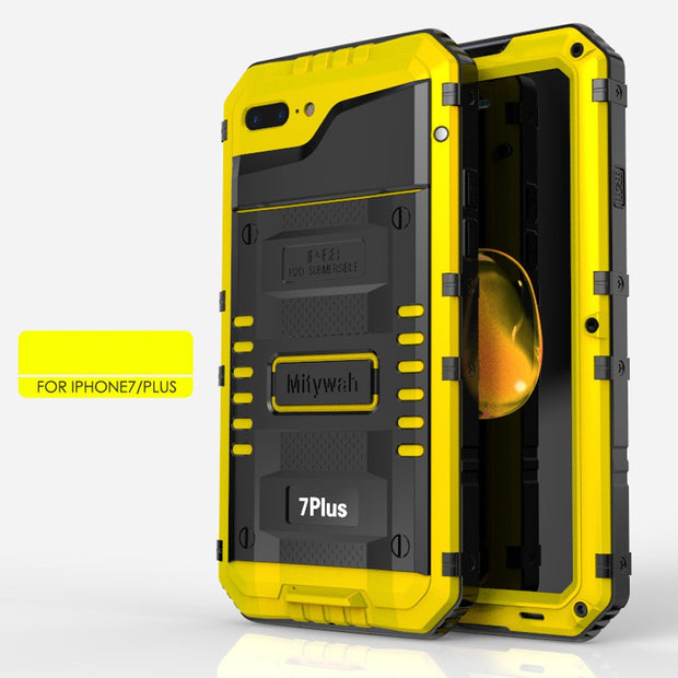 LUPHIE Wolf Armor For Iphone XS Case Metal Aluminum Dirt Shock Waterproof Case For IPhone 8 Case Luxury 6s Cover+tempered Glass
