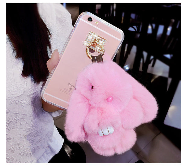 LaMaDiaa Fluffy Plush Rabbit Case For Xiaomi Redmi 5A 5X 6 Por Note MIX2 2S MAX 5 5S Transparent Soft TPU Back Cover