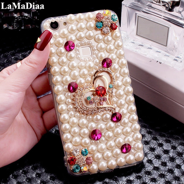 LaMaDiaa For Huawei Honor 10 V9 V10 Nova 2S P10 P20 Lite Mate 9 10 Case Hot Luxury Pearls Diamond Love Soft Protective Case