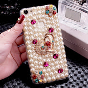 LaMaDiaa For Samsung S5 S6 S7 Edge S8 S9 Plus Note 5 8 9 Case Hot Luxury Pearls Diamond Love Soft Phone Case