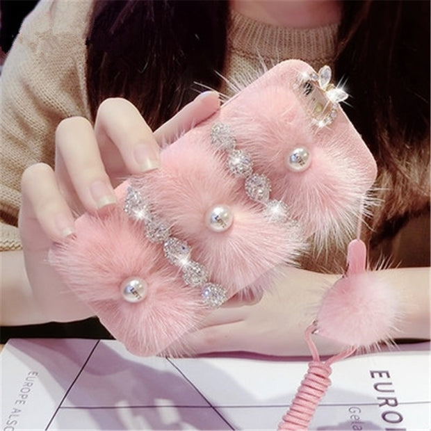 LaMaDiaa For IPhone X XR Xs Max 6 6S 7 8 Plus Luxury Bling Rhinestone Diamond With Love Pearl Rabbit Fur Hair Soft Case Capa