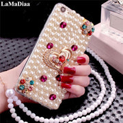 LaMaDiaa For Iphone 6 6s 7 8 Plus XR Xs Max Case Hot Luxury Pearls Diamond Love Soft Phone Case