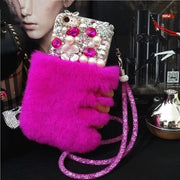 LaMaDiaa Real Rabbit Fur Case For Samsung Galaxy S4 S5 S6 S7 Edge S8 S9 Plus Note 3 4 5 8 Case Hair Lady Phone Cover Capa