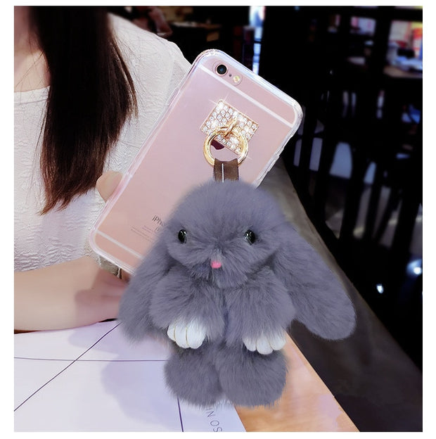 LaMaDiaa Lovely Hairy Rabbit Case For Samsung Galaxy S6 S7 Edge S8 S9 Plus Note 5 8 9 Luxury Rabbit Metal Ring Back Cover