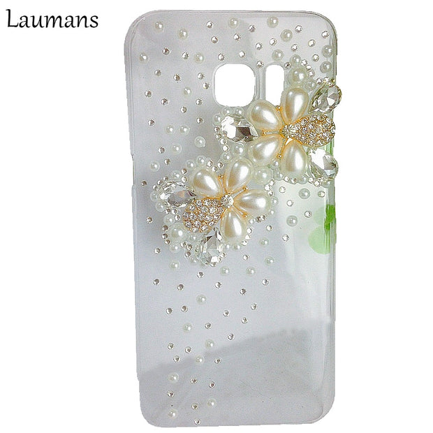 Lastest Flower Rhinestone Diamond Cover Case For Samsung Galaxy Note 3 4 5 7 8Bling Glitter Back Protection For S4 S5 S6 S7edge
